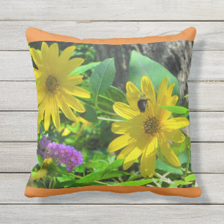 Flowers and Bumble Bee Outdoor Pillow