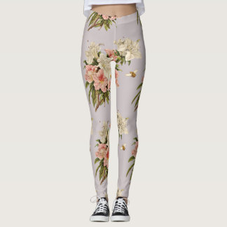 Flowers and Bumble Bees Leggings