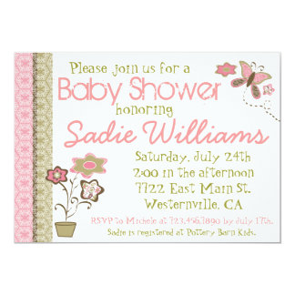Flowers and Butterflies Baby Shower Invitation