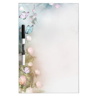 Flowers and butterflies dry erase board