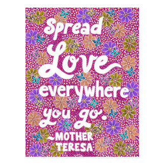 Flowers And Butterflies Love Typography Quote Postcard