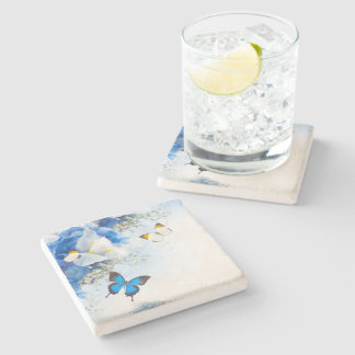 Flowers and Butterflies Stone Coaster