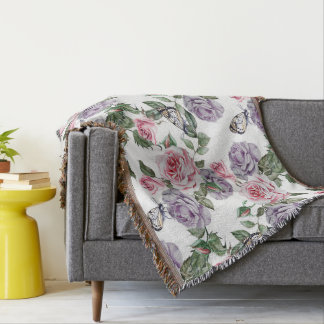 Flowers And Butterflies Throw