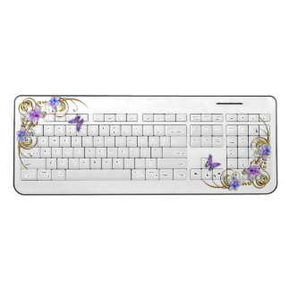 Flowers and Butterflies Wireless Keyboard