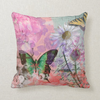 Flowers and Butterfly Vintage Paris Throw Pillow