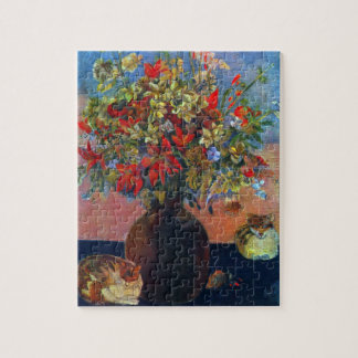 Flowers and Cats by Gauguin, Vintage Fine Art Jigsaw Puzzle