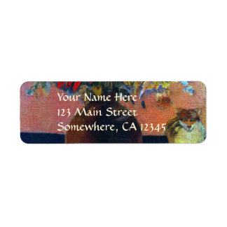 Flowers and Cats by Gauguin, Vintage Fine Art Return Address Label