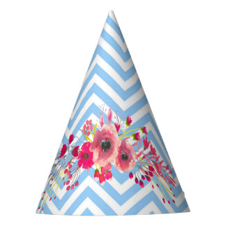 Flowers and chevron modern glamour cute elegant party hat