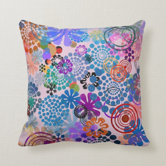 Flowers and circles throw pillow
