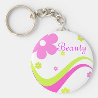 Flowers and curves - Keychain