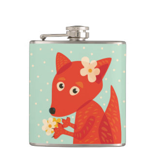 Flowers And Cute Fox Flask