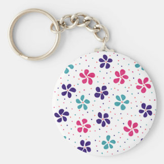 Flowers and Dots Pattern Keychain