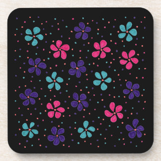 Flowers and Dots Pattern on Black Background Coaster