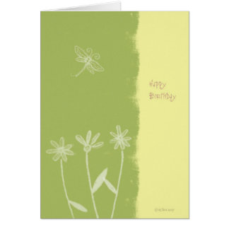 Flowers and Dragonfly Birthday Card