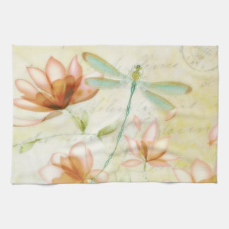 Flowers and dragonfly kitchen towel