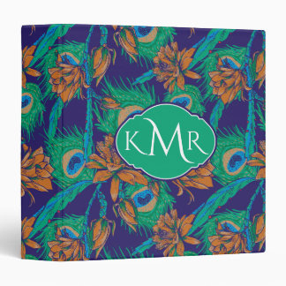 Flowers And Feathers | Monogram 3 Ring Binders