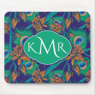 Flowers And Feathers | Monogram Mouse Pad