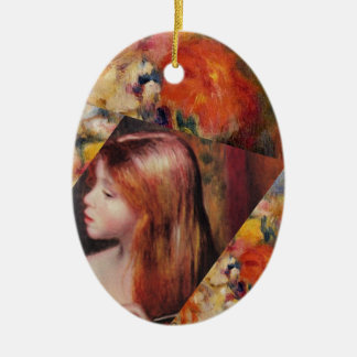 Flowers and female beauty blend just right ceramic ornament