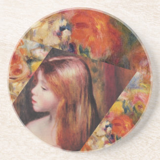 Flowers and female beauty blend just right coaster