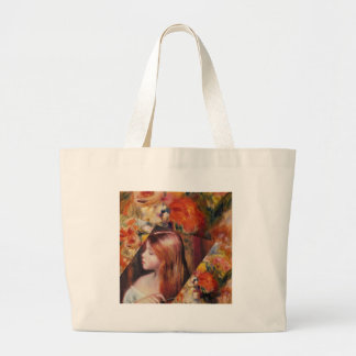 Flowers and female beauty blend just right large tote bag