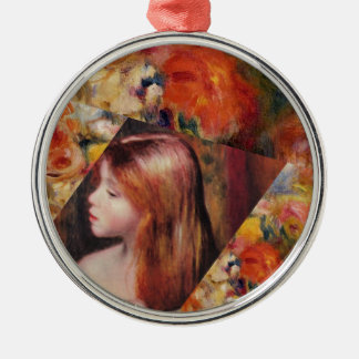 Flowers and female beauty blend just right metal ornament