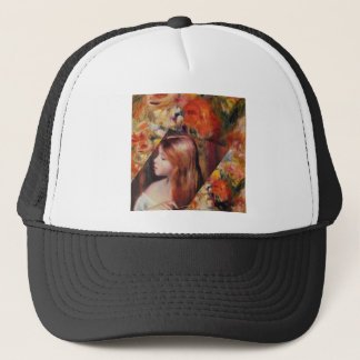 Flowers and female beauty blend just right trucker hat