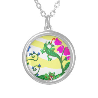 Flowers and frogs silver plated necklace