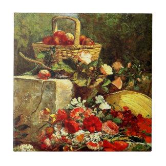 Flowers and Fruit in a Garden, Eugene Boudin art Tile