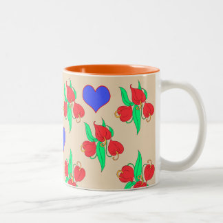 Flowers and hearts ( choose you own background ) Two-Tone coffee mug
