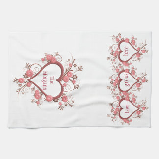 Flowers and Hearts Love Grows Here and Family Name Kitchen Towel