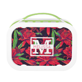 Flowers And Hummingbirds | Add Your Name Lunchboxes