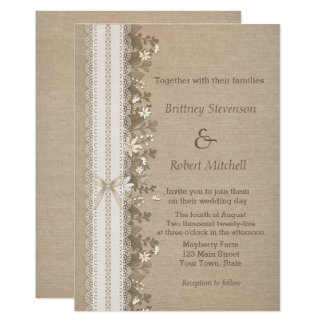 Flowers and Lace on Burlap Wedding Card