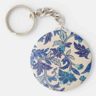 Flowers and leaves abstract design basic round button keychain