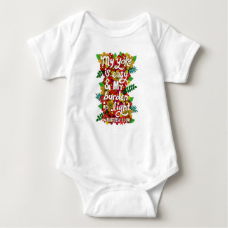 Flowers And Leaves Doodle Typography Bible Verse Baby Bodysuit