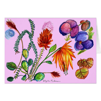 Flowers and Leaves Dreams in Purple Card