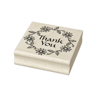 Flowers and Leaves Wreath Thank You Rubber Stamp