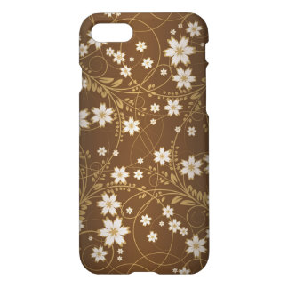 flowers and lives swirl art on brown background iPhone 7 case