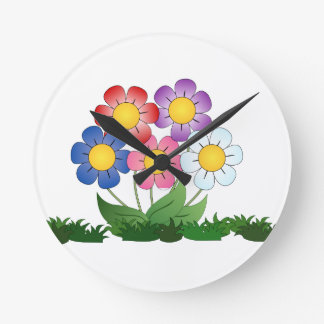 flowers and painting round clock