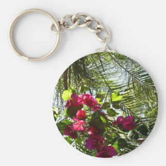 Flowers and Palm Tree Basic Round Button Keychain
