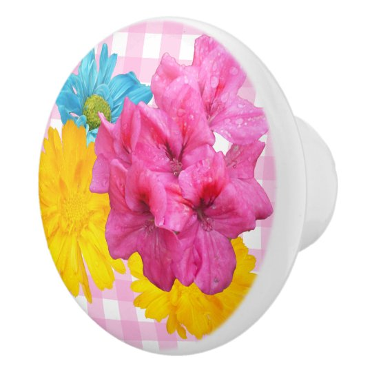 Flowers and Pink Gingham Ceramic Knob