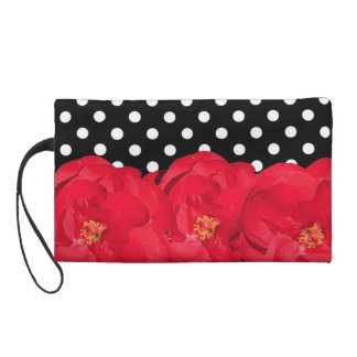 Flowers and Polka Dots Wristlet
