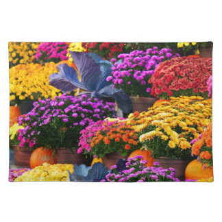 Flowers and pumpkins placemat