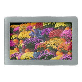 Flowers and pumpkins rectangular belt buckle