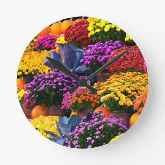 Flowers and pumpkins round clock