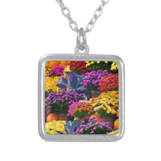 Flowers and pumpkins silver plated necklace