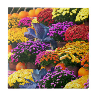 Flowers and pumpkins tile