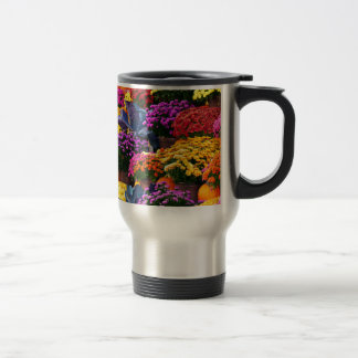 Flowers and pumpkins travel mug