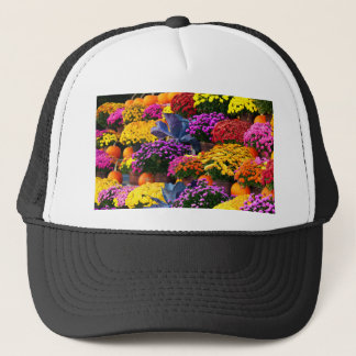 Flowers and pumpkins trucker hat