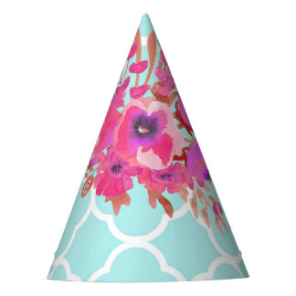 Flowers and quatrefoil glamour modern fashion party hat