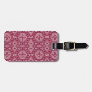Flowers and Shapes in Raspberry Red Luggage Tag